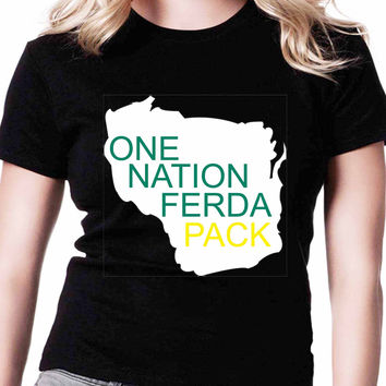 Green Bay Packers One Nation Ferda Pack FD Mens T-shirt Black and White
