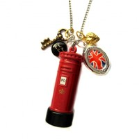 God Save the Queen Royal Wedding Vintage Red Letter Box and Union Jack Locket Charm Necklace - Brighton POD - Promoting Original Design