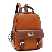 Your Gallery Retro Student Faux Leather Schoolbag Shoulder Bag Travel Preppy Rucksack (beige2)