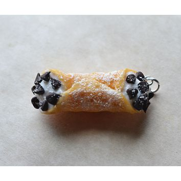 Chocolate Chip Cannoli Charm Key chain or Stitch Marker Polymer clay mini food