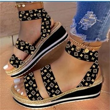 Summer women's shoes solid color wedge heel ladies hemp rope plus size sandals