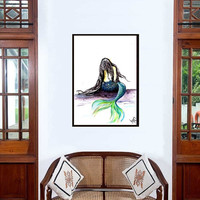 Mermaid painting Decor wall art Siren Livingroom Decal illustration abstract tropical Sea girly room gift Sitting mermaid back tail poster