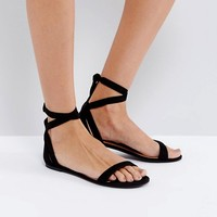 Call It Spring Caderasen Black Nubuck Flat Sandals at asos.com