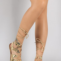 Qupid Metallic Strappy Lace Up Gladiator Flat Sandal