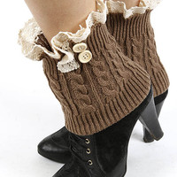 Gia Button Lace Accent Short Knit Leg Warmers in Brown