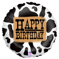 Happy Birthday mylar balloon with a black and white pattern.