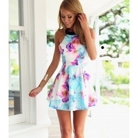 water color flower high neck dress   Spoiled Rotton