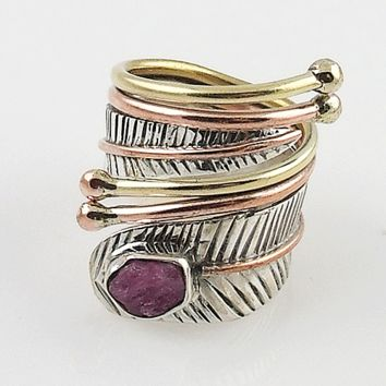 Pink Tourmaline Rough Sterling Silver Adjustable Wrap Ring