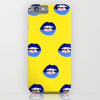 Blue Lips iPhone & iPod Case by Bouffants And Broken Hearts