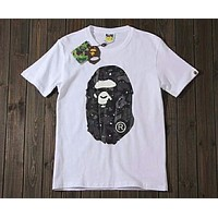 Bape Starry Camouflage Luminous Head High Quality Cotton Short Sleeve T-Shirt F-Great Me Store white