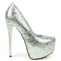 Dior-02 Glitter Platform High Heel Pump Spikes High Heel Shoes
