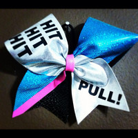 """Hit, Hit, Hit Pull with SIlver, Teal and Hot Pink on 3"""" Black Grosgrain - Cheer Bow"""
