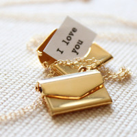 Gold Locket - Envelope with a Secret Message Inside, mother's day
