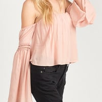 Flowy Off the Shoulder  Top - Peach