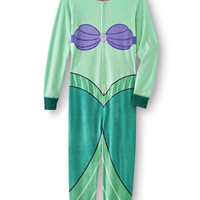 Disney The Little Mermaid Women's One-Piece Footie Pajamas