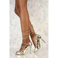 M&L Honey Gold Mista Strappy Lace Up High Heel Shoe 7-11