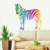 Zebra Wall Decals Full Color Safari Decal Colorful African Safari Animals Africa Kids Children Nursery Baby Room Zebra Wall Vinyl Decal Stickers Bedroom Murals