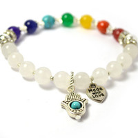 Seven Chakras Hamsa Bracelets, Real Gemstones with White Jade, Crystal Rondelles, Silver Plated Beads, Buddhist Prayer Beads