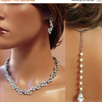 Bridal jewelry , Bridal back drop bib necklace , Modern vintage inspired rhinestone pearl bridal statement, bridesmaid jewelry