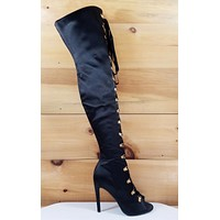 Cape Black Satin Lace up Front Open Toe OTK Thigh Boot High Heel