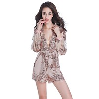 Deep V Neck Sexy Sequin Rompers Womens Jumpsuit 2016 Short Mesh Bodysuit Playsuit Club Elegant Overalls Combinaison Femme DH737