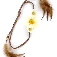 DAISY DETAIL THREADS KNOTTED HEADBAND WITH FEATHER DROP