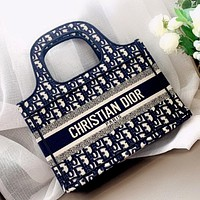Dior embroidered knitted lettering canvas shoulder bag crossbody