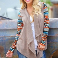 2015 Winter Long Sleeve Totem Spell Color Irregular Cardigan Knit Blouse