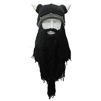 Funny Purim Knitted Beard Horn Hat