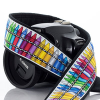 Camera Strap, dSLR, Crayons, SLR, Canon camera strap, Nikon camera strap, Camera Neck Strap, Mirrorless, Rainbow,  Pocket, 199