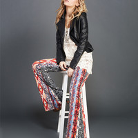 Bohemian Bold Stripe Brushed Flare Pants | Wet Seal