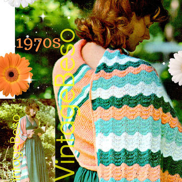 "DIGITAL PATTERN •  Zerape Shawl KNITTING Pattern • Serape 98"" • PdF Pattern • 1970s Vintage Striped Shawl • Adapted from Old Mexican Design"