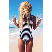 Striped Strappy Back One Piece Swimsuits