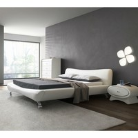 California King White Faux Leather Upholstered Platform Bed