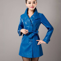 Long Sleeve Collared Leather Trench Coat with Belt