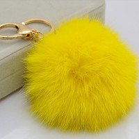 Cute Genuine Rabbit fur ball plush pom pom key chain for car key ring Bag Pendant YELLOW