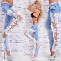 2015 European Style fashion Lace Sexy Hollow Out Flower Hook Tight Feet Pencil Pant Long Jeans