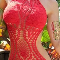 Red White Scoop Neck Halter Crochet Cut Out Tie Side Backless One Piece Monokini Swimsuit