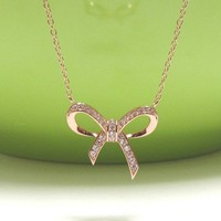 """INFINITY BOW Necklace In Rose Gold Over Sterl. Silver-16""""+2 Extender"""