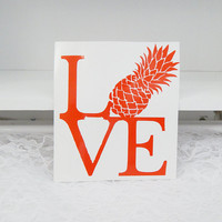 Pineapple Love 5.5x6.5 Inch Permanent Vinyl Decal/Bumper Sticker