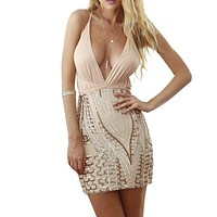 Spaghetti Strap Gold Sequin Summer Dress Deep Plunge Sequined Geometic Bodycon Party Dresses