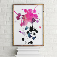 """Watercolor Painting""""ABSTRACT""""Wall Art,Home Decor,Apartment Decor,ABSTRACT art print,Instant Download,Wall Decor,Pink Abstract"""
