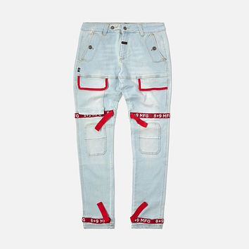 Strapped Up Slim Utility Light Washed Jeans Red Straps