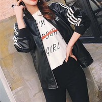 """Adidas"" Unisex Fashion Locomotive Stripe Baseball Clothes Couple Long Sleeve Zip Cardigan PU Leather Jacket Coat"