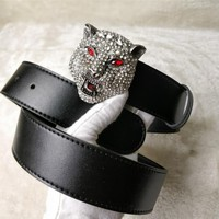 GUCCI Tide brand diamond head tiger head men and women models simple wild smooth buckle belt silver