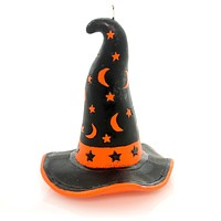 Halloween WITCH'S HAT CANDLE Wax Moon Stars Luminary Ta197