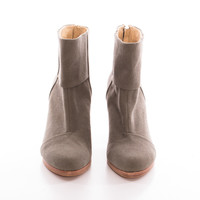 *NEW* Olive Canvas Back-Zip Booties, Wooden Heel