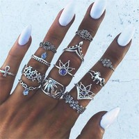 Boho Moon Midi Ring Set