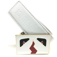 Fendi Monster Belt Men 36 Leather White Red Black Gold Buckle M