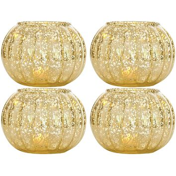 4 Pack   Small Vintage Mercury Glass Candle Holders (3.5-Inch, Autumn Design, Gold) - For Home Decor, Party Decorations, and Wedding Centerpieces